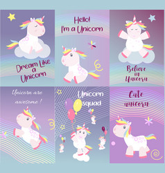 Cute unicorn cards magic baby vector
