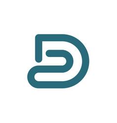 D letter logo line style minimalist design vector