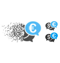 Damaged dot halftone currency bids icon vector