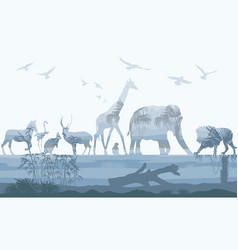 Double exposure wild animals with nature vector