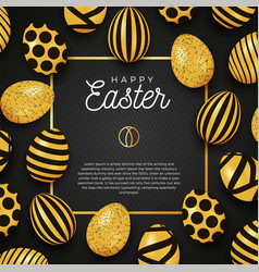 Easter egg frame happy easter luxury banner vector