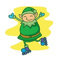 Elf with roller skates vector