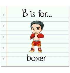 Flashcard letter B is for boxer vector