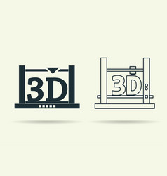 Flat and linear 3d printers icons vector