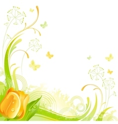 Floral summer background with yellow tulip flower vector image