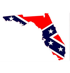 Florida map and confederate flag vector