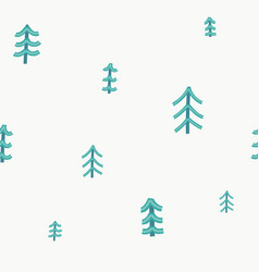forest christmas tree simple seamless pattern vector image