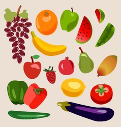 fruits and vegetables Heathy food vector image