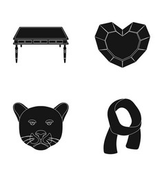 Furniture animal and other web icon in black vector