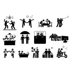 gay couple lifestyle and activities depict two vector image