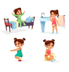 Girl kid morning of cartoon vector