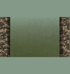 green metal plate on military camouflage pattern vector image
