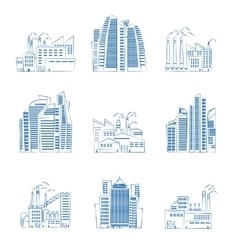 Hand drawn skyscrapers and industrial buildings vector