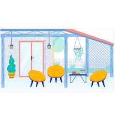 House terrace or balcony interior and furniture vector