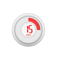 Icon a timer with 15 minutes on white vector