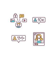 influencer marketing rgb color icons set vector image