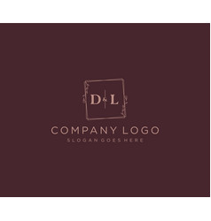 Initial dl letters decorative luxury wedding logo vector
