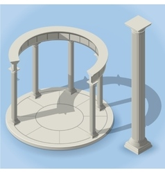 Isometric ancient rotunda monopteros vector