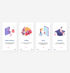 Isometric modern education online library ux ui vector