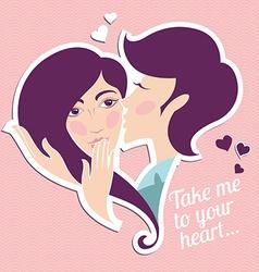 Kissing boy and girl heart shape vector