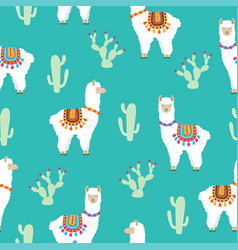 llama alpaca and cactus seamless pattern vector image