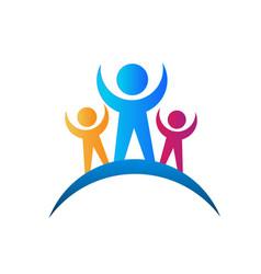 Logo design happy and social people icon vector