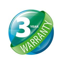Logo in shape a circle 3 year warranty vector