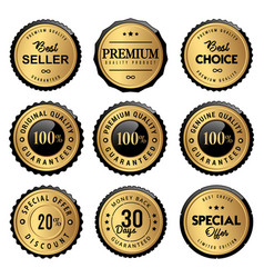 luxury labels seal and quality product vector image