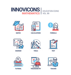 Mathematics - line design style icons set vector