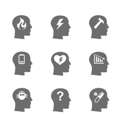Mental health icons set stress concept vector