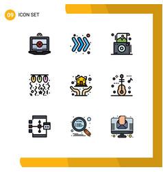 Mobile interface filledline flat color set 9 vector