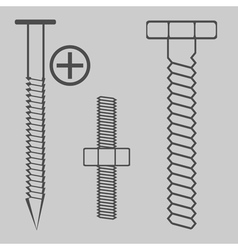 monochrome icon set with nuts and bolts vector image