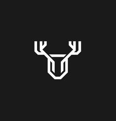 monogram deer logo in a modern line style vector image