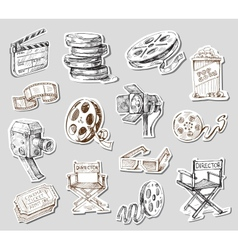 movie camera-hand drawn vector image