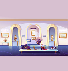 Museum installation luxury items exhibition vector
