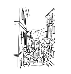 old european street sketch for your design vector image