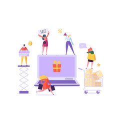 People shop online using laptop e-commerce vector