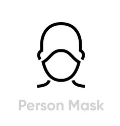 Person protection mask respirator icon editable vector
