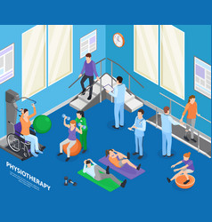 Physiotherapy isometric composition vector