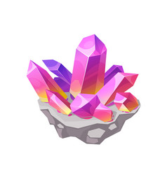 Pink crystal rock gem isolated mineral vector