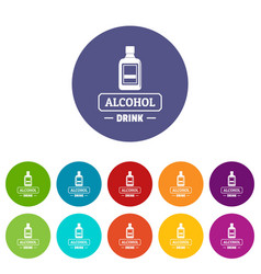 quality alcohol icons set color vector image