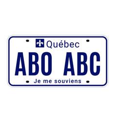 Quebec license number plate registration canada vector