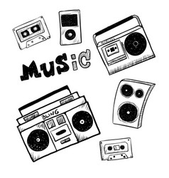 retro music player icons musical attributes of vector image