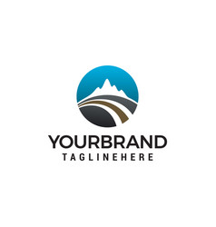 road mountain logo design concept template vector image