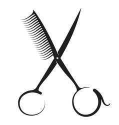 scissors and comb silhouette vector image