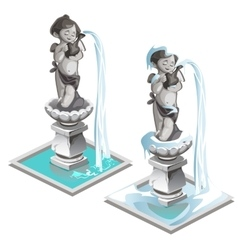 Statue fountain of a boy with wings and pitcher vector image