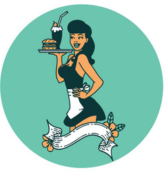 Tattoo style icon a pinup waitress girl with vector