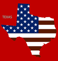 Texas state of america with map flag print on map vector