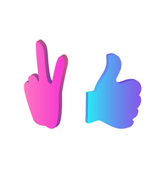 thumb up and peace chatting sign icon set vector image