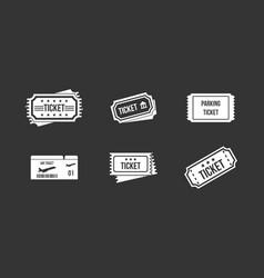ticket icon set grey vector image